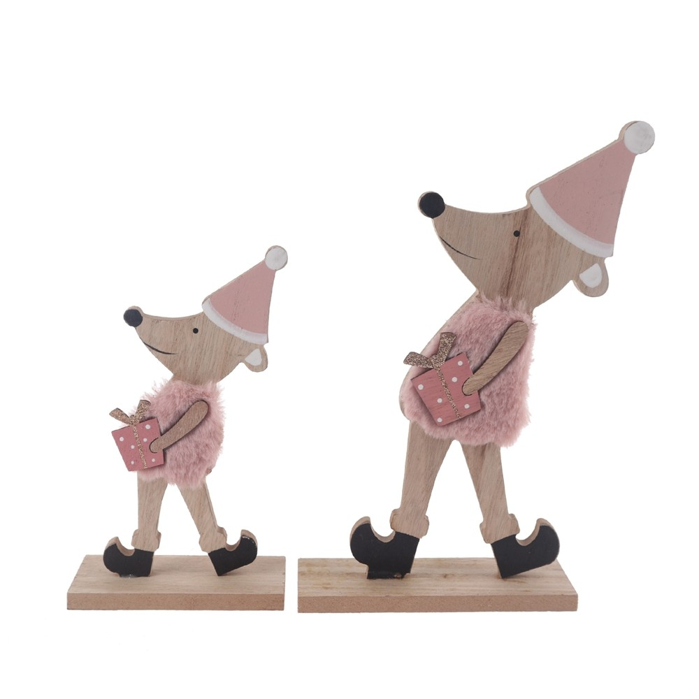 Home decor supplies Wooden Christmas decoration pink mouse custom size crafts office table ornaments window decor