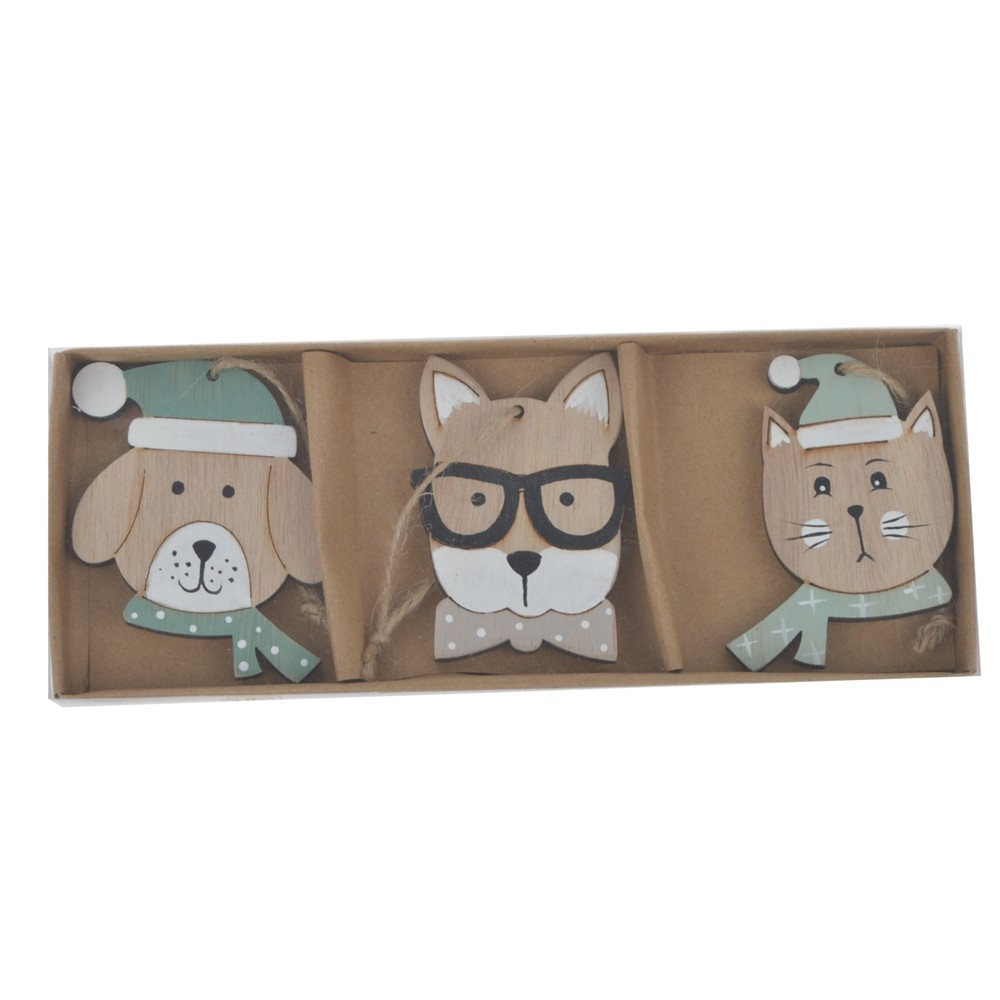 Factory Personalized carton cat dog hanging christmas pendant ornaments Christmas hanging decor Kids Crafts
