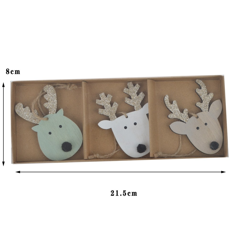 Holiday supplies 3pcs carton ornaments Reindeer head decoration Christmas tree hanging Kids home decor