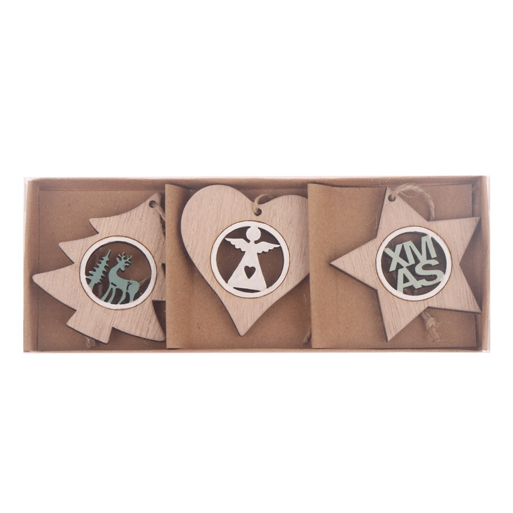 Factory Heart Star Tree hanging wholesale hanging decoration christmas ornaments wooden crafts Handmade