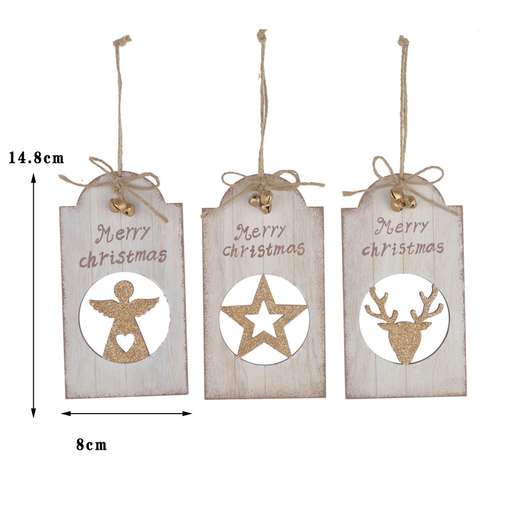 2020 Wholesale Rustic Wooden letter hanging Christmas Hanging wall sign Holiday ornament items With bell pendant