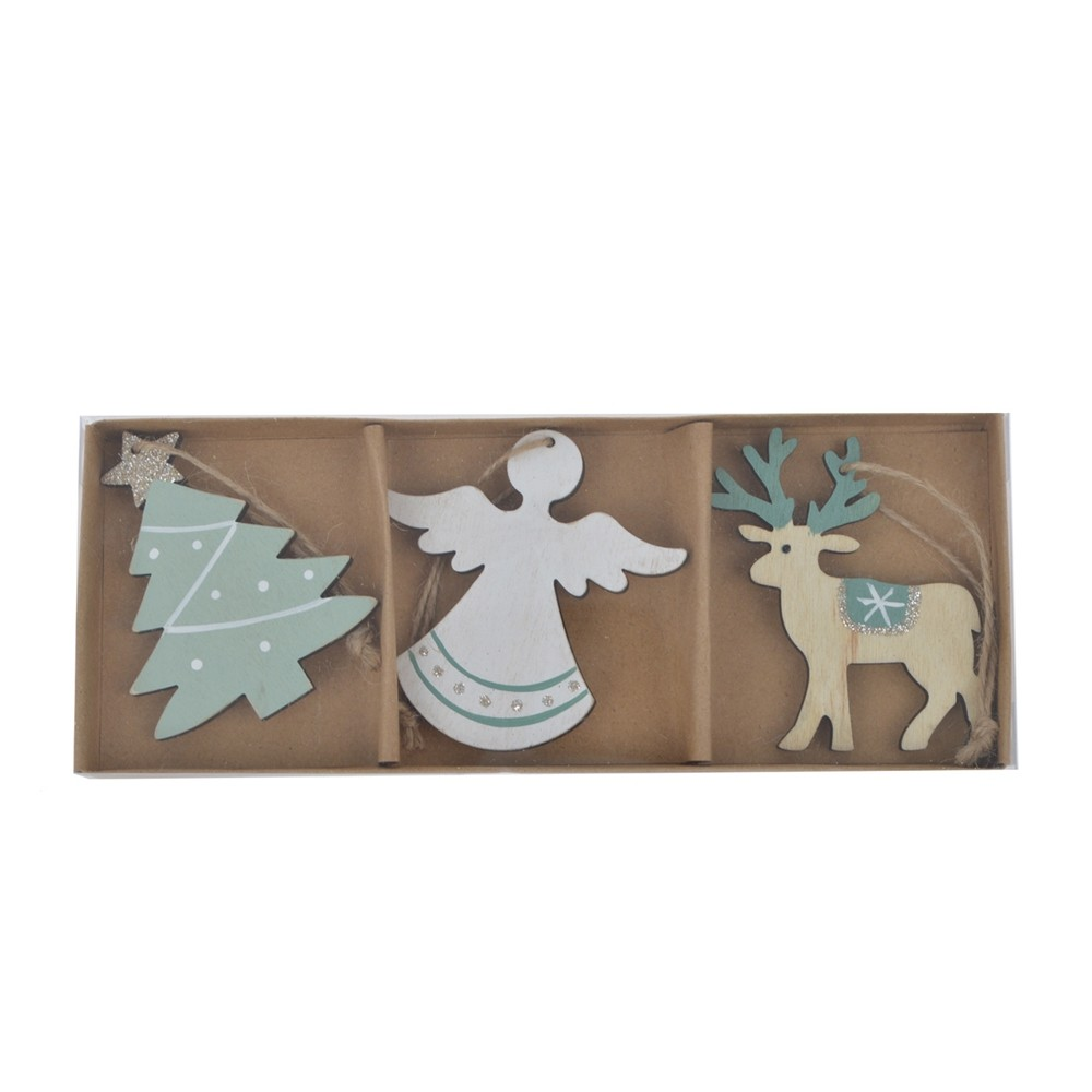Hot sell angel ornament Wooden tree pendant Reindeer hanging Christmas home wall decoration Handmade crafts