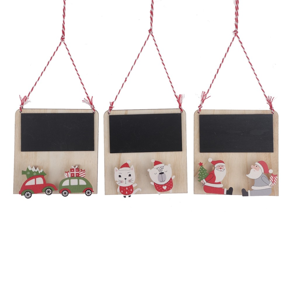 Factory New design Christmas blackboard decoration wooden painted hanging clip small Santa blackboard Kids DIY