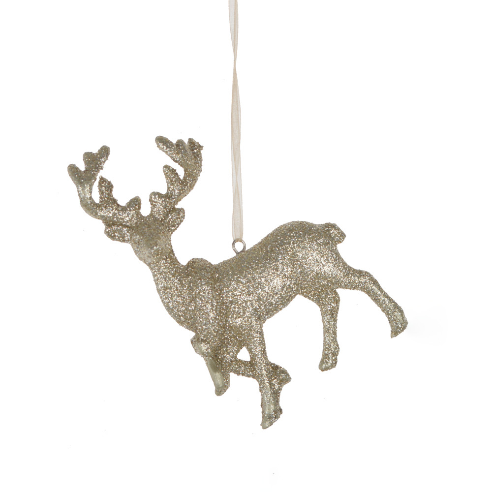 factory 3D polyresin glitter deer hanging tree hanger christmas  decoration
