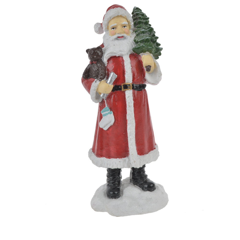 factory polyresin red santa clause on stand fugurine christmas crafts