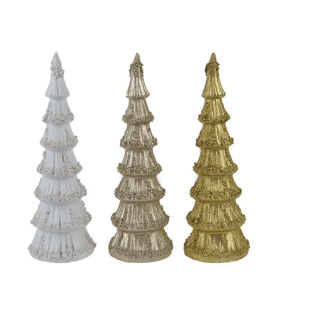 factory indoor decoration glitter resin christmas tree shape table crafts gift