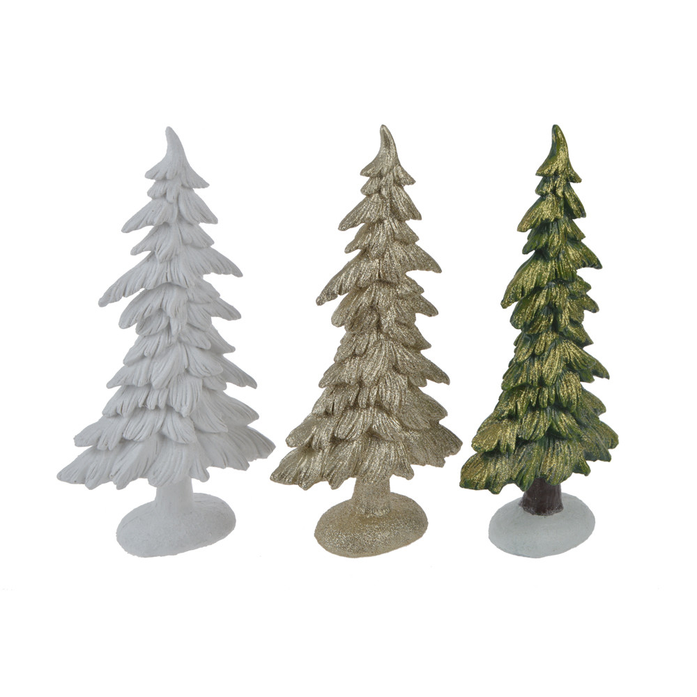 factory directly set of 3 decorated christmas tree figurines for holiday home decor