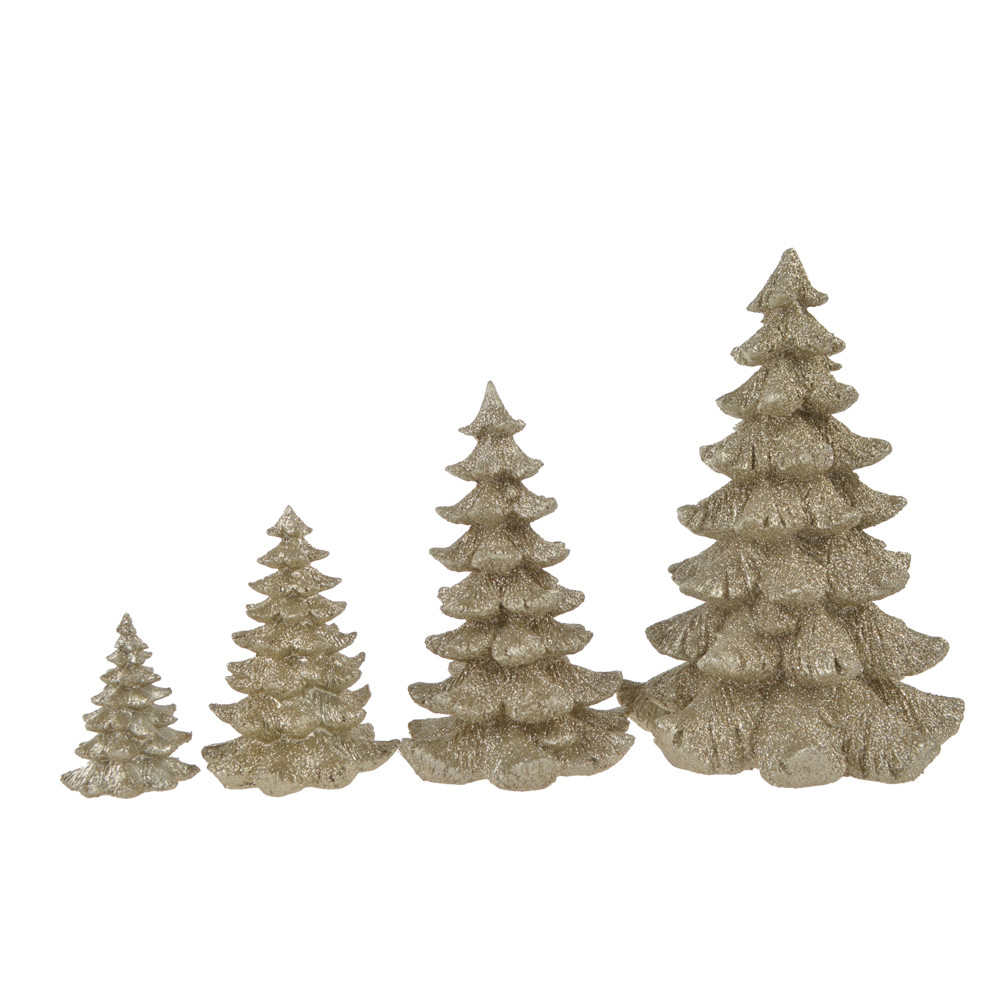 factory supplier polyresin stone christmas glitter silver tree tabletop decor fiesta party