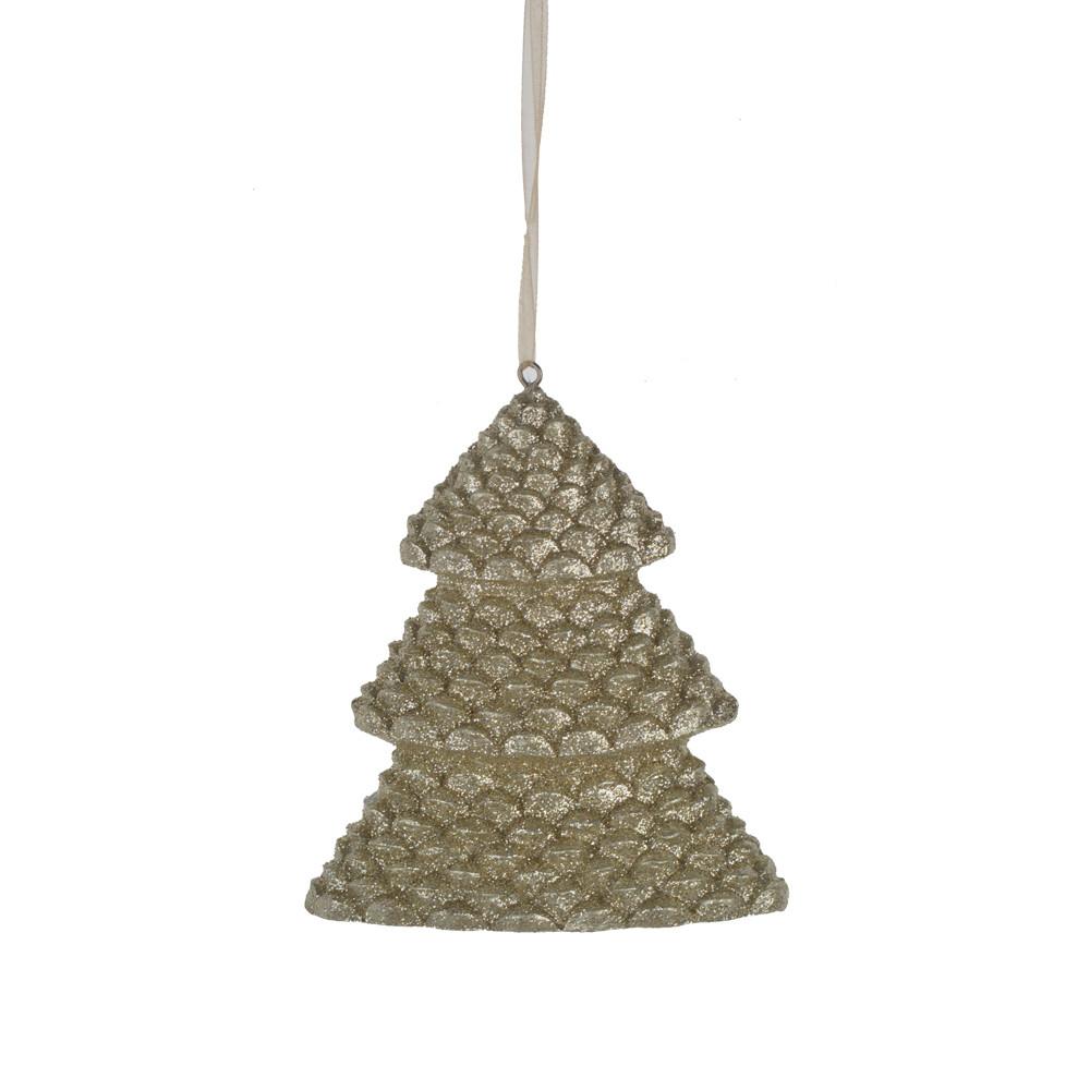 factory cheap glitter gold tree hanger resin pendant christmas home decor
