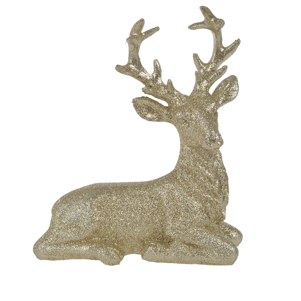 Christmas decoration polyresin white deer with glitter home decoration