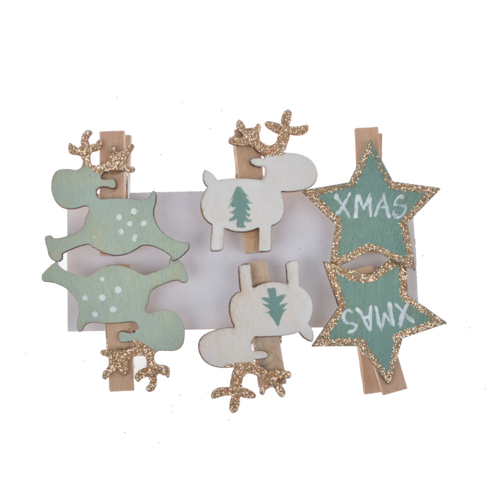 wholesales supplier wooden clips pegs Xmas card holder decoration deer star shape