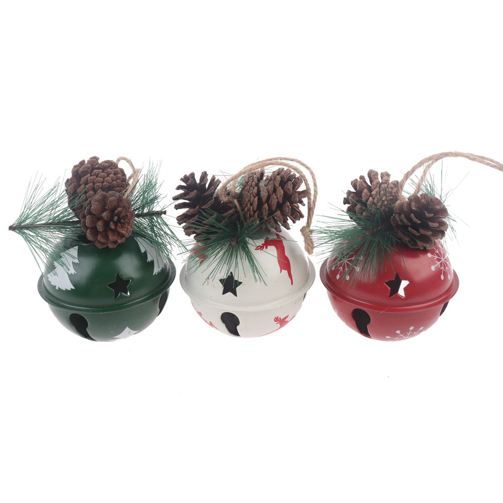 christams tree baubles hanging metal bells hanger  triple pack festival gift