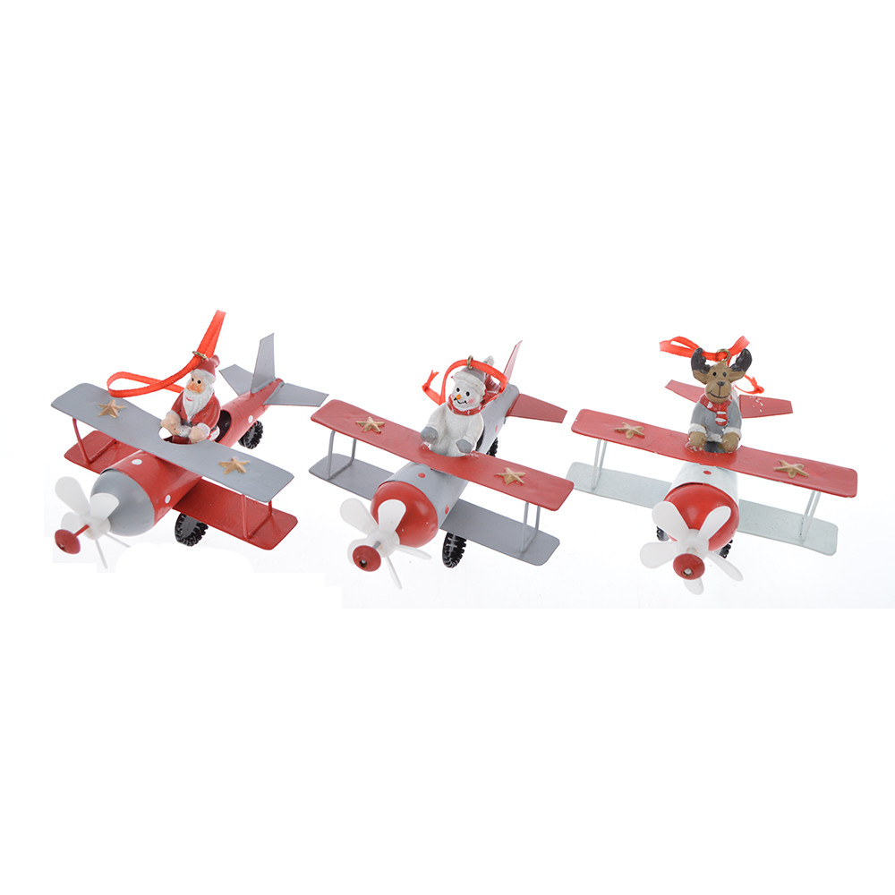 Manufactory crafts Christmas metal plane hanging airplane decoration pieces biplane holiday decoration santa airplane