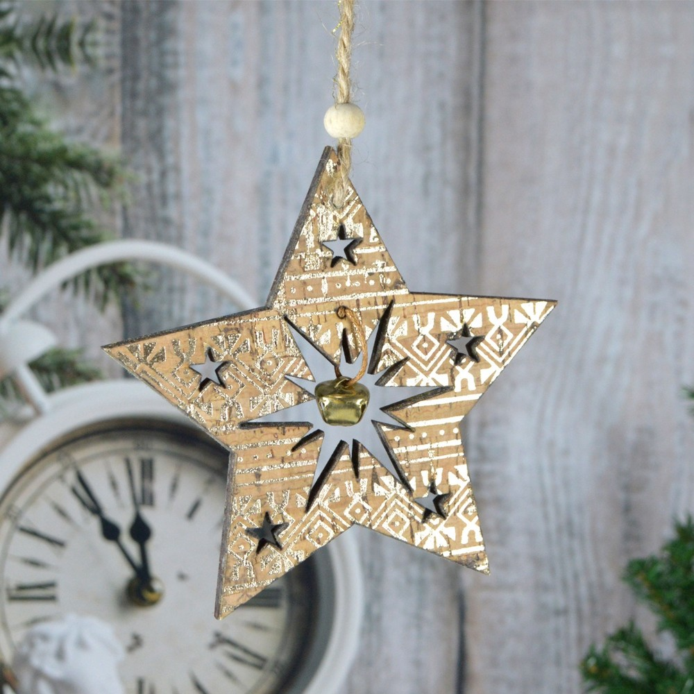 Factory wholesale star tree heart laser cut hanging Wooden ornaments for Christmas custom decorations New Year