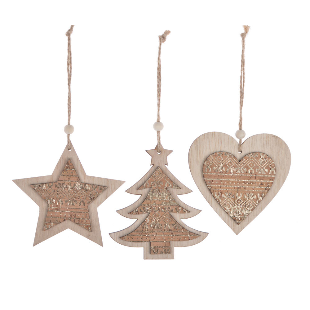 China Factory Rustic Christmas decoration Farmhous Christmas Handmade hanging Modern Christmas set of Three