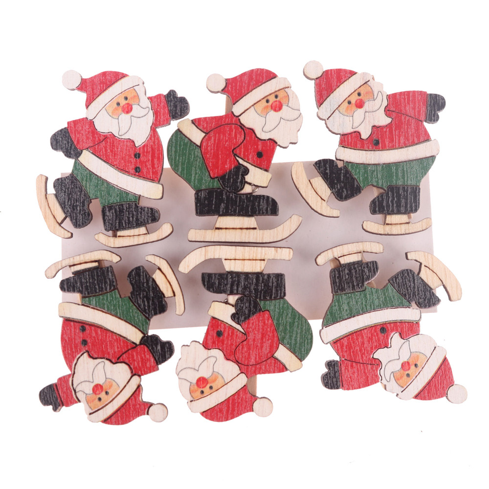 China Factory Wooden Pegs Santa Peg Holder Christmas Card pegs NEW Christmas Hanging Photo Card Holder
