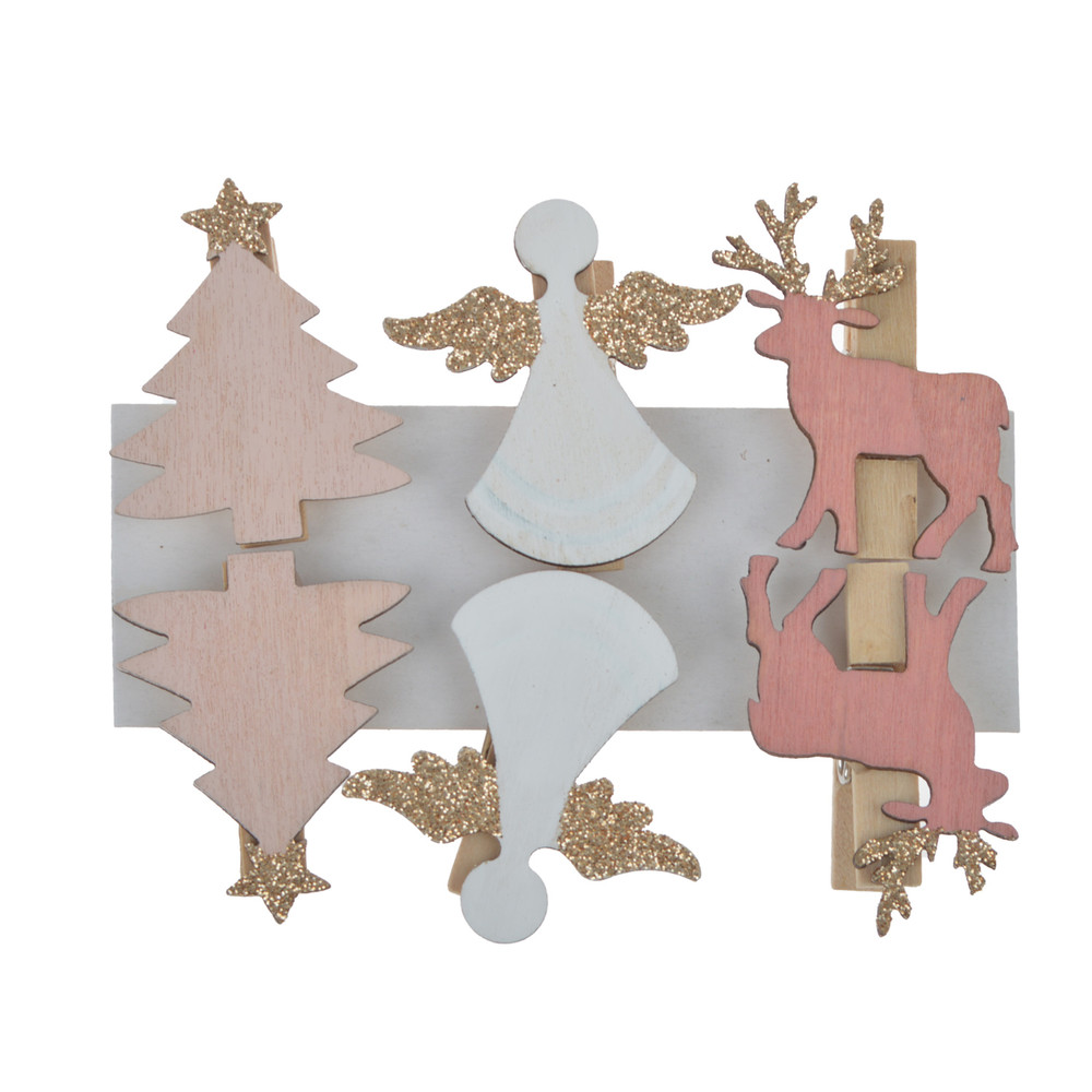 wholesale lovely christmas tree deer angle shaped wood photo memo clips easy to use home decoration tool
