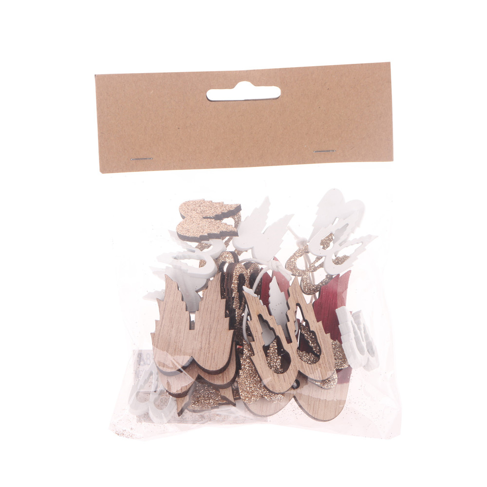 Factory directly wooden angle wing hanger confetti scatter together wood craft window ornament