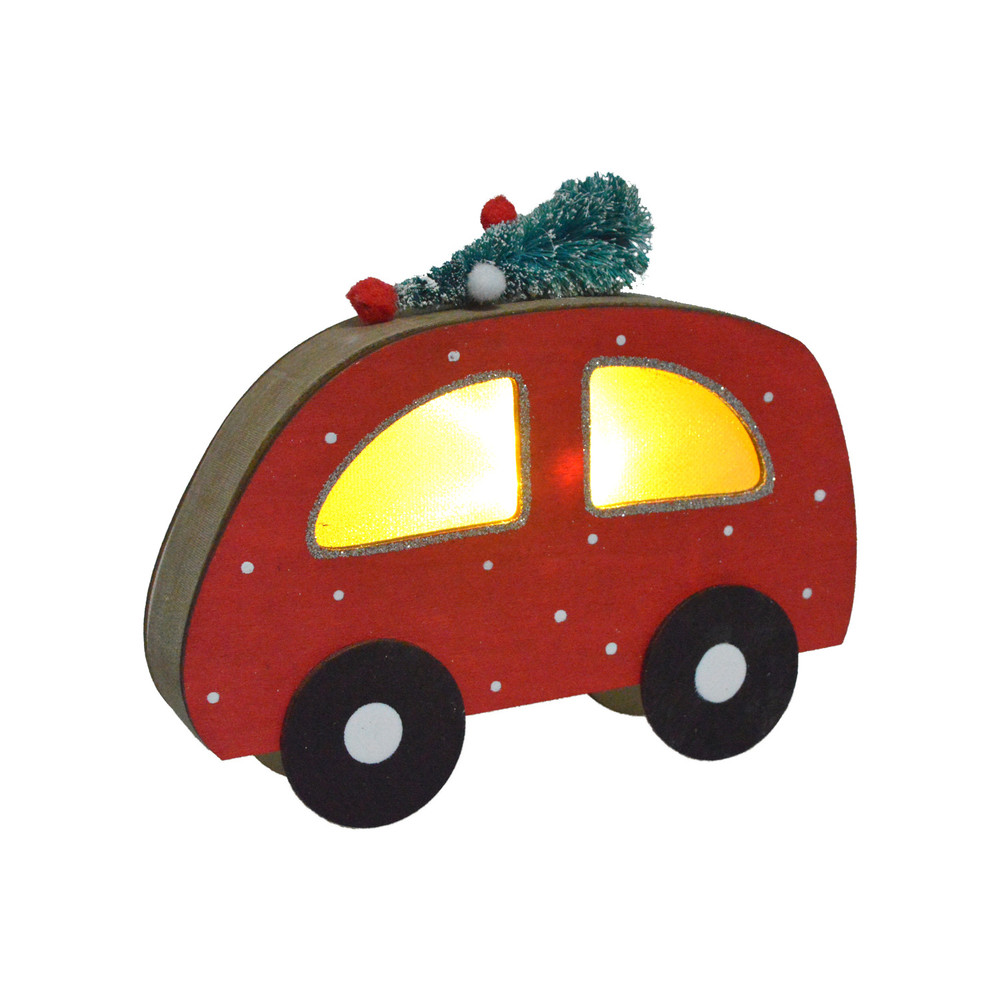 factory wooden red car tabletop led light up christmas gift decpration