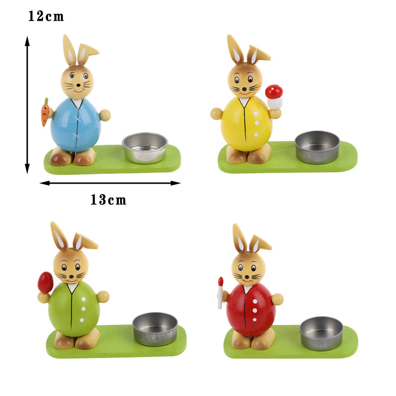 Easter decoration wood Easter bunny Crafts Gifts Ornaments animal candle holder rabbit design