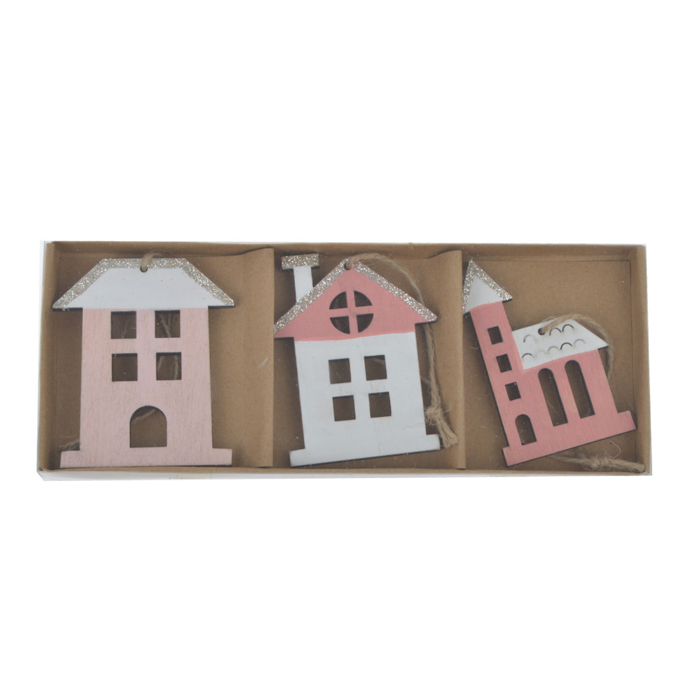 Wooden House Shaped Embellishments Hanging Ornaments for Holiday
