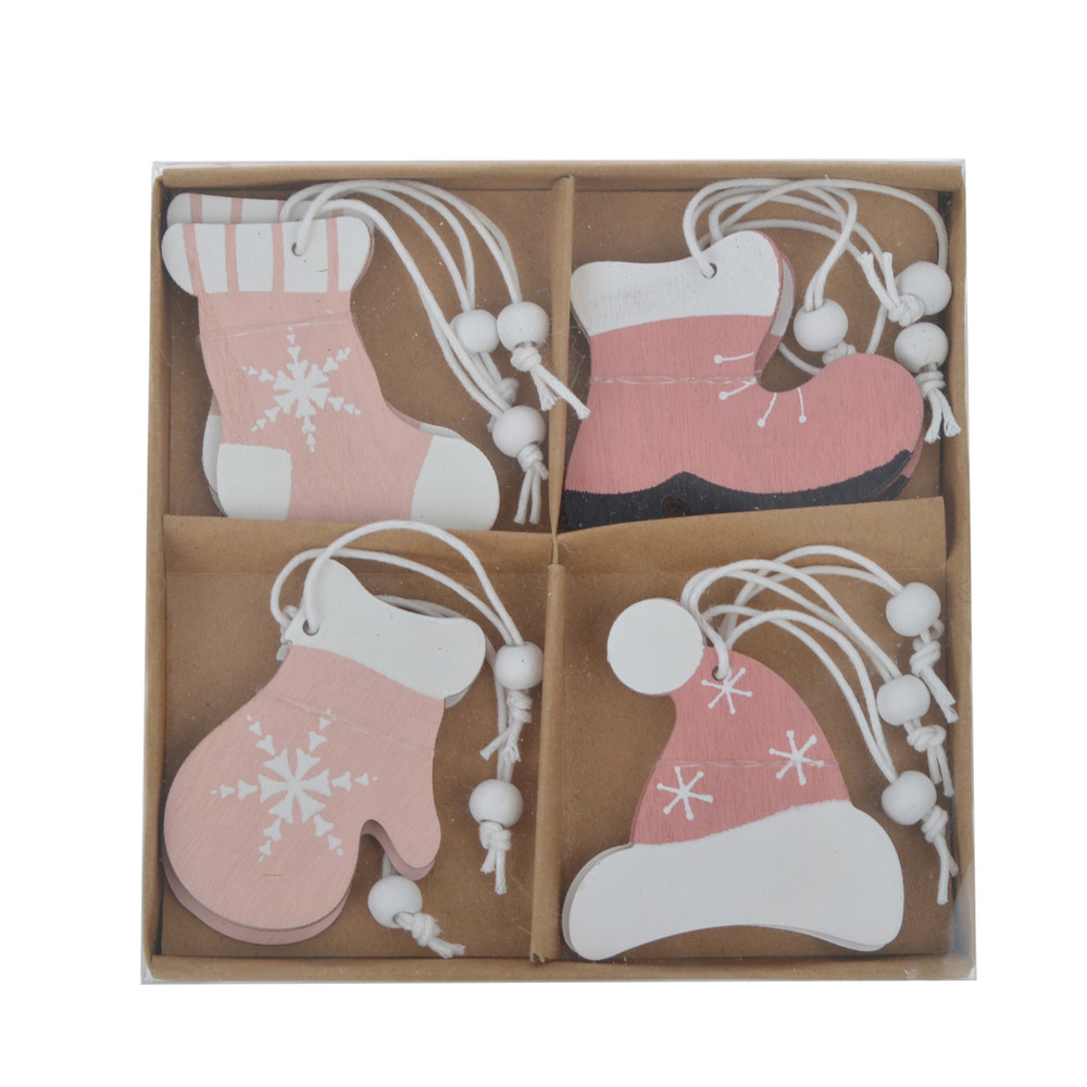 christmas gifts wooden pink sock hat glove shoe shape one box set home ornament