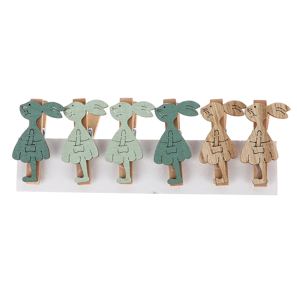 Wholesale DIY Decorative Cute Rabbit Decoration Wooden Namecard Photo Paper clips