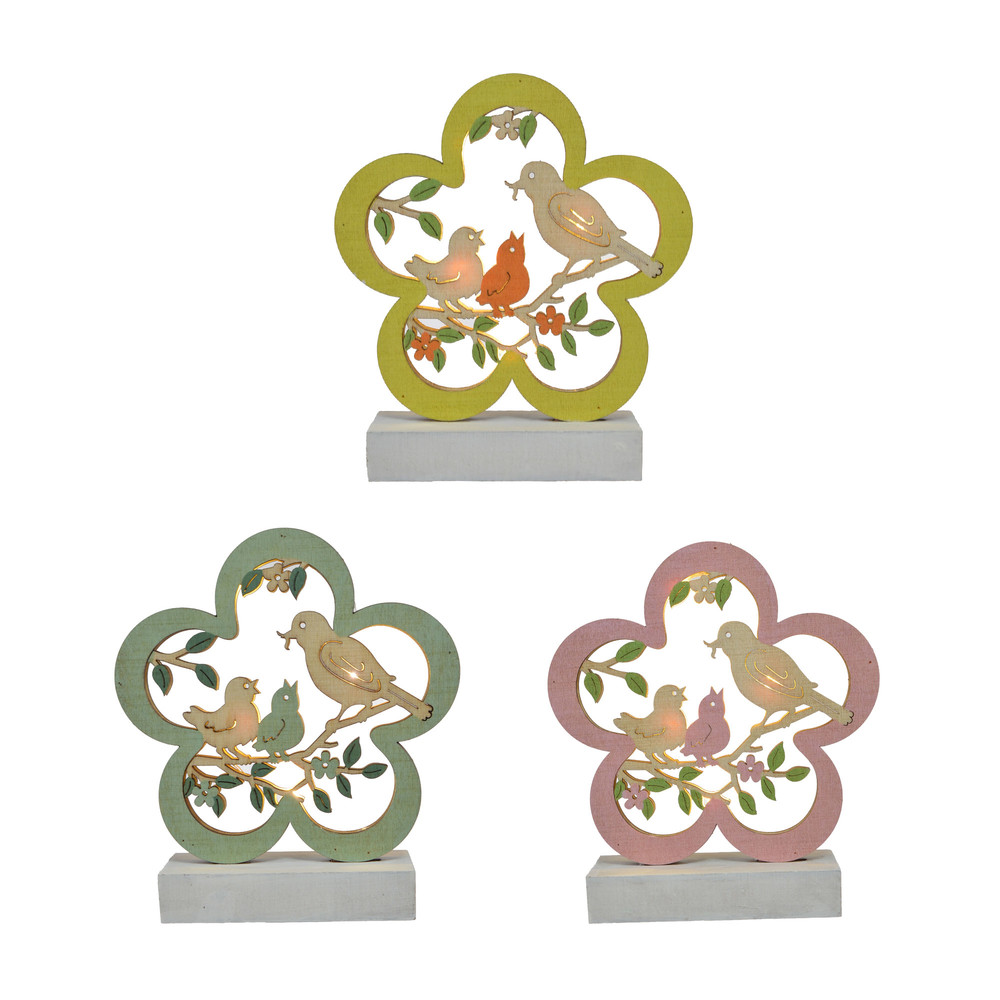 Easter Wood Ornaments Flower Shape With Birds and Branches For Easter Party Decorations