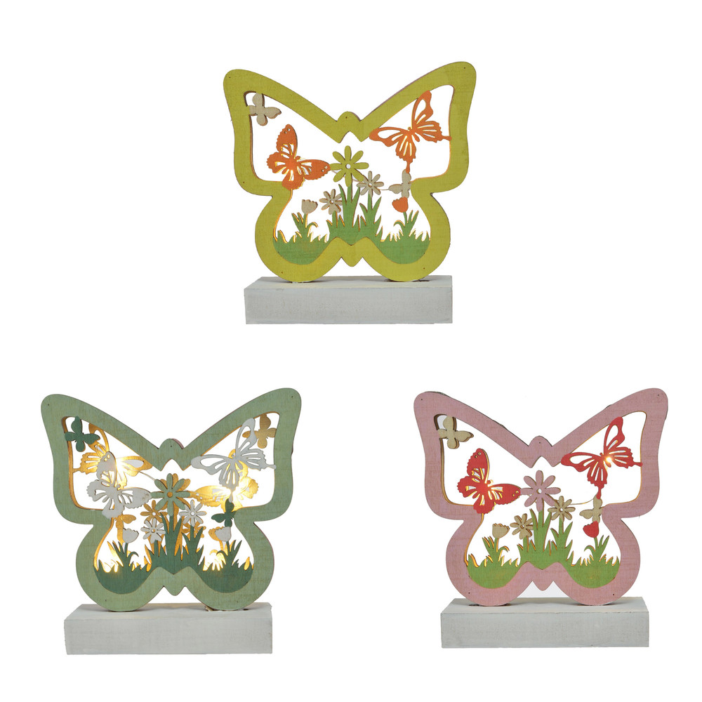 Easter Wood Ornaments Butterfly Shape With Flowers For Easter Party Table Standing Decoration