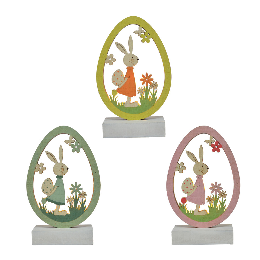 Wholesale Easter LED Wood Ornaments Egg Shape With Bunny Rabbit For Easter Party Tabletop Decorations