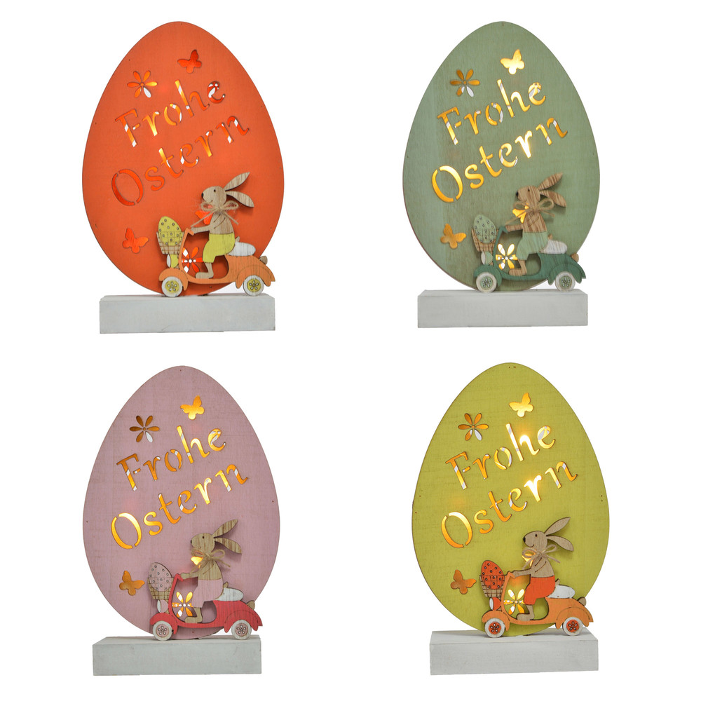 Wholesale LED Easter Wood Ornaments Egg Shape With Rabit For Easter Party Table Standing Decoration