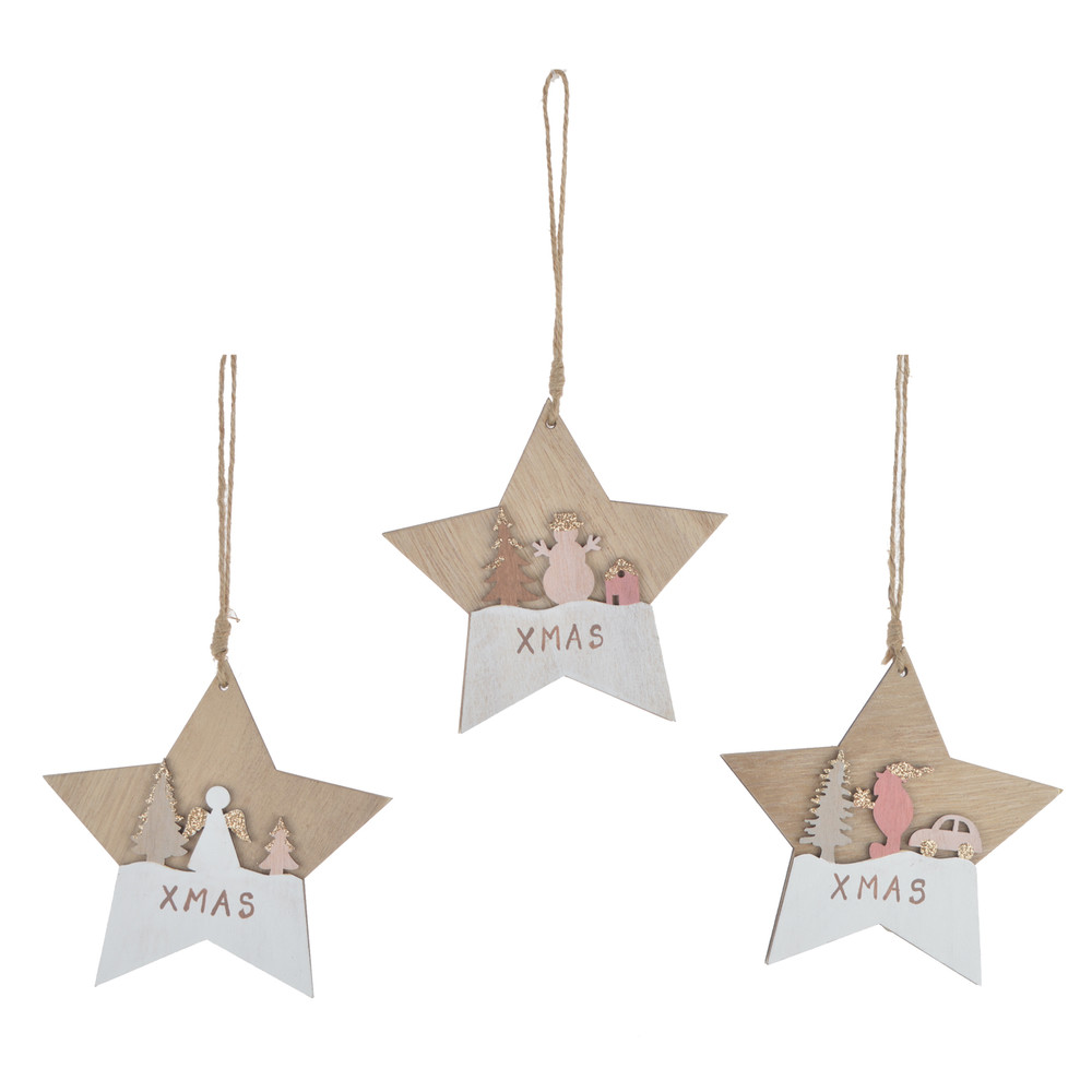 Wooden Star Shaped Ornaments With  Snowman Angels Santa On Stars christmas decoration