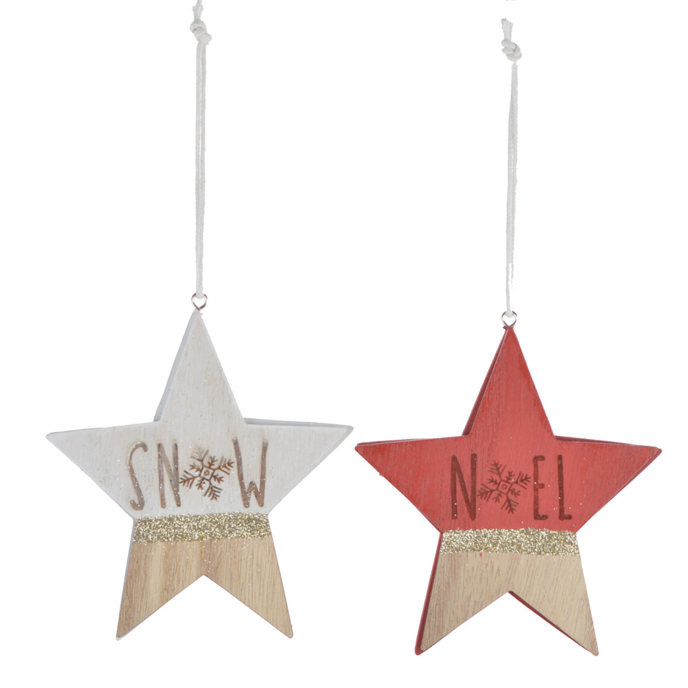 factory handmade wooden star shaped hanging printing colour christmas ornament