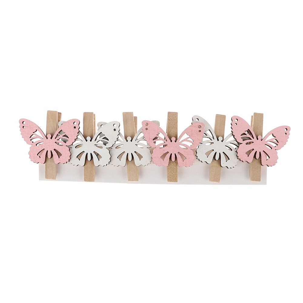 wood butterfly shape photo holder clip holiday Easter decoration items