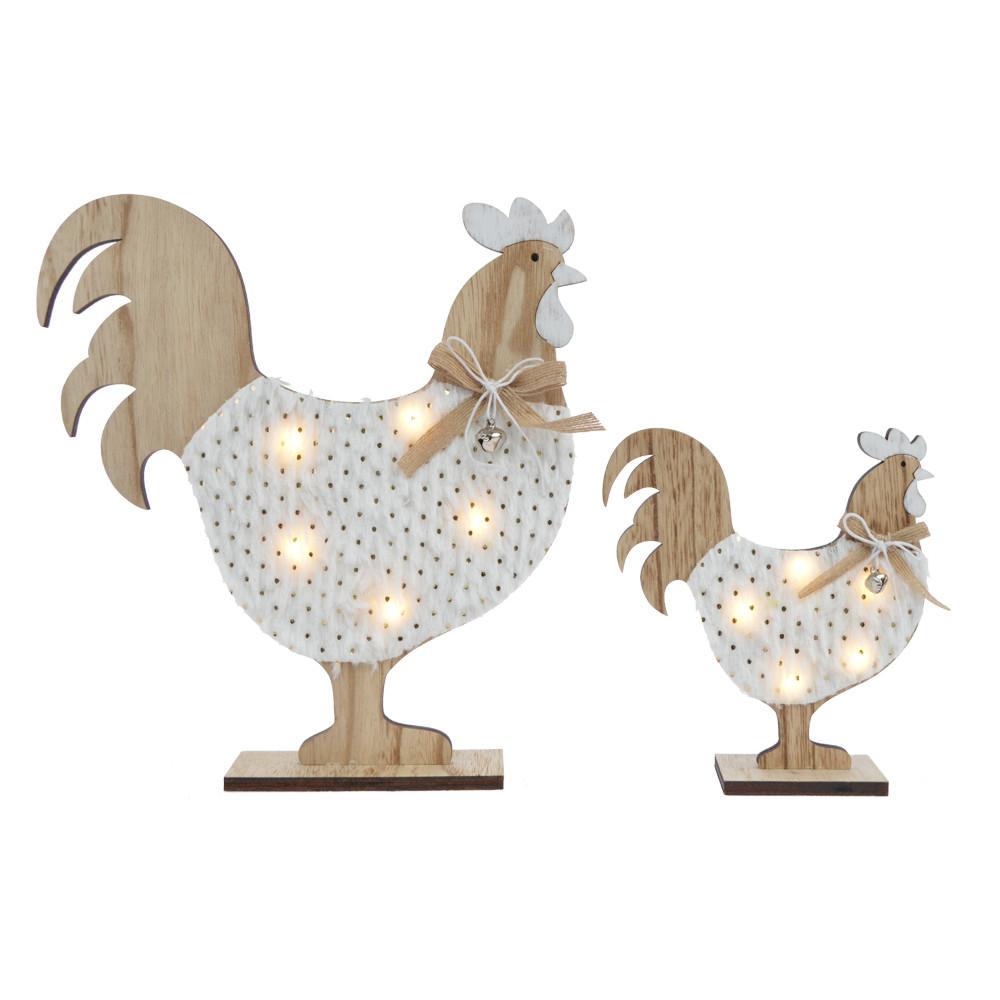 wooden decorative light chicken desktop decoration