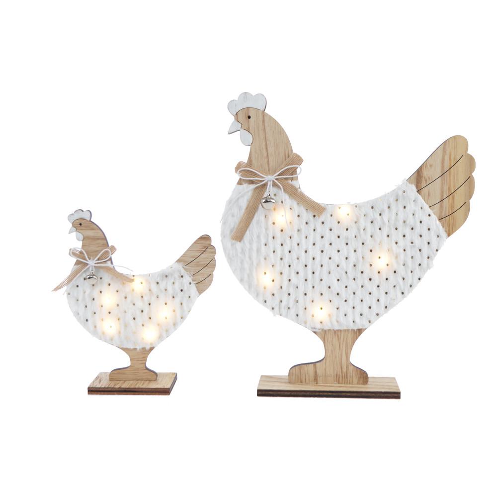 wooden cock decorative light chicken desktop decoration