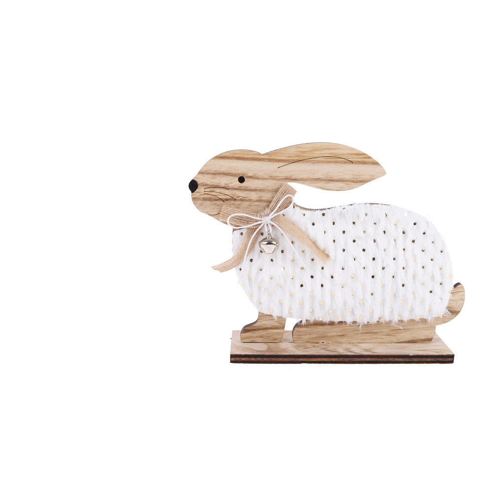 wood domestic rabbit light with fur easter table craft supplier