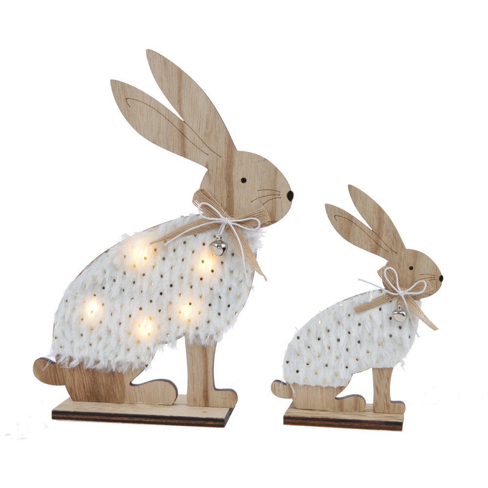 Top-ranking products wood domestic rabbit light easter table craft decoration