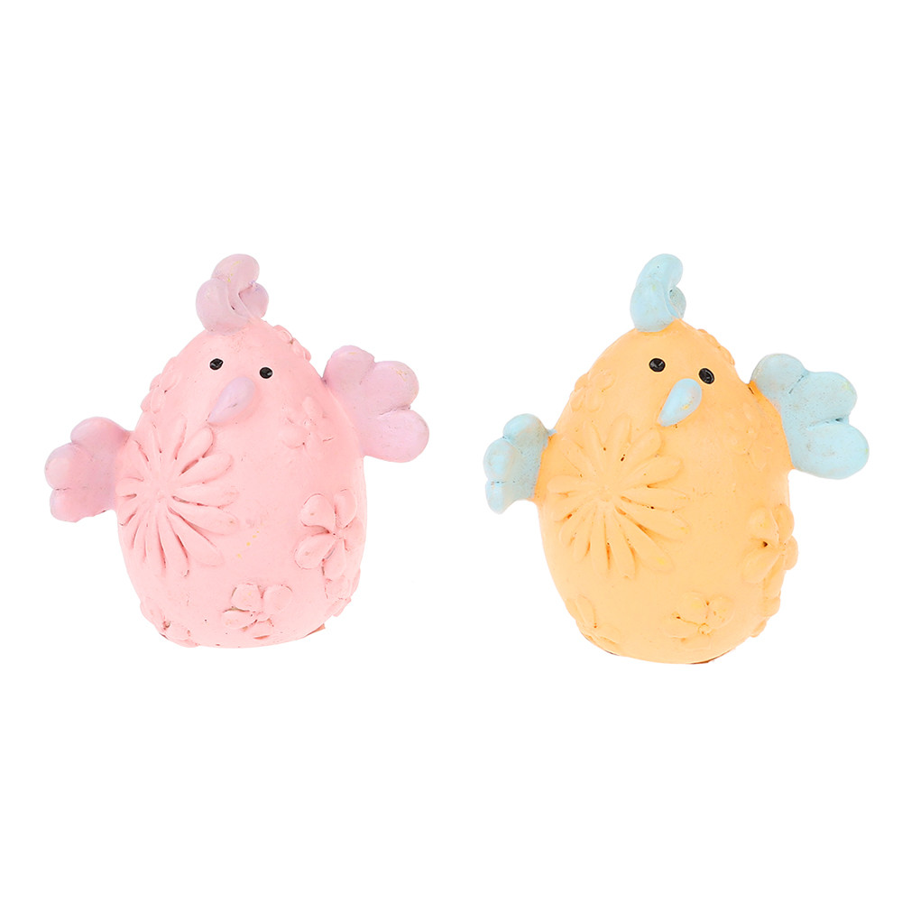 resin cute happy Easter home accessories cartoon chicken design color egg ornament