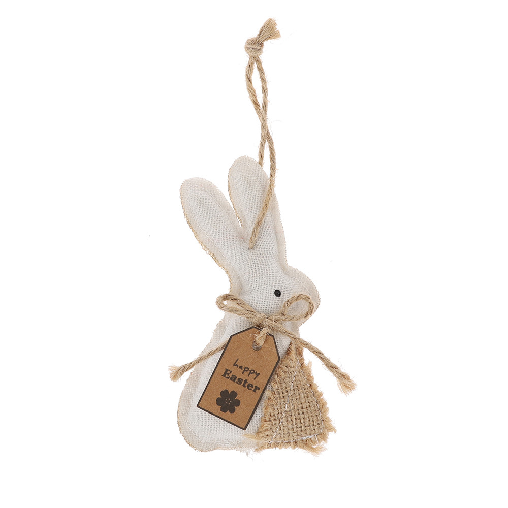 white brown linen rabbit hanging burlap bunny home wares decoration