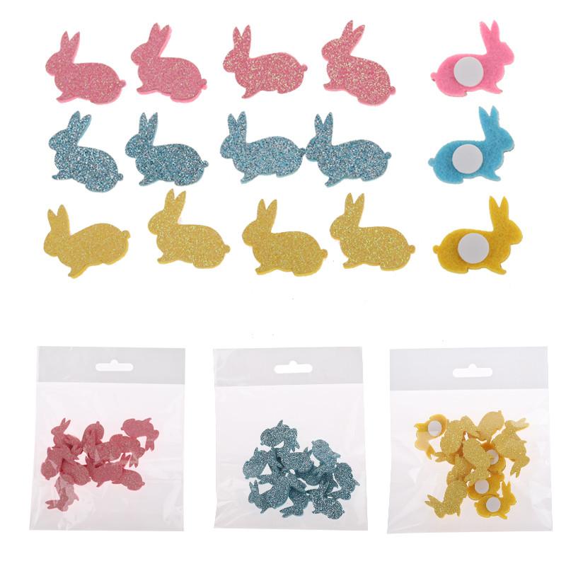 hot sale felt craft rabbit with sticker Glitter Set S/12 house party decoration