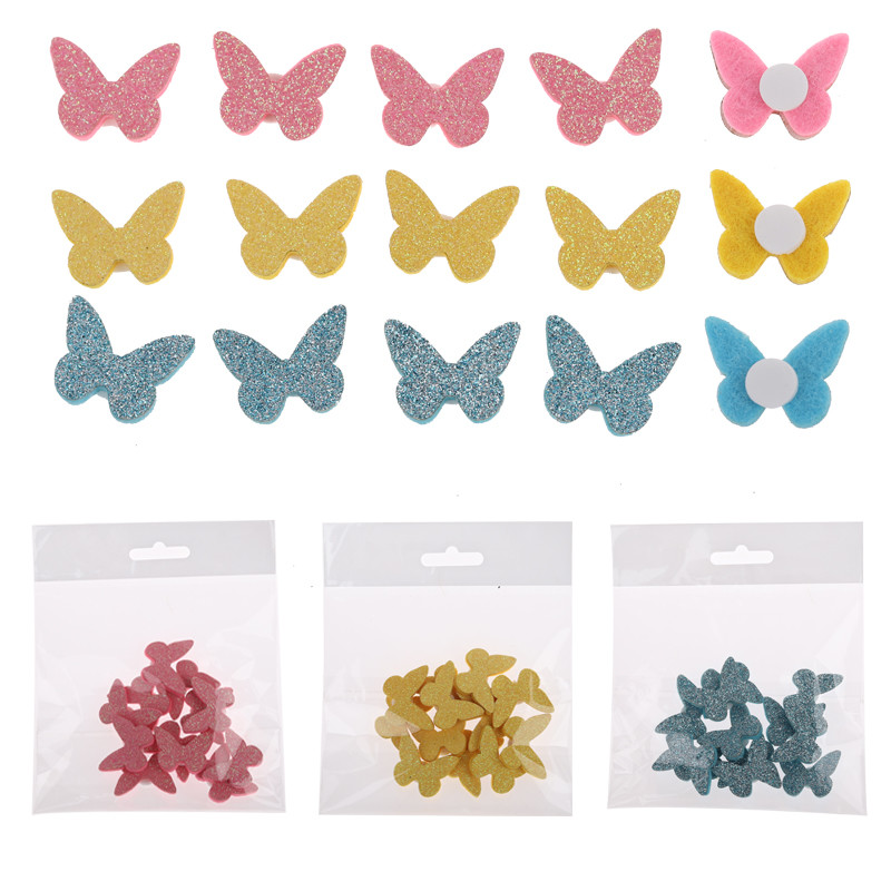 hot sale new arrival felt glitter butterfly sticker decoration decorative items