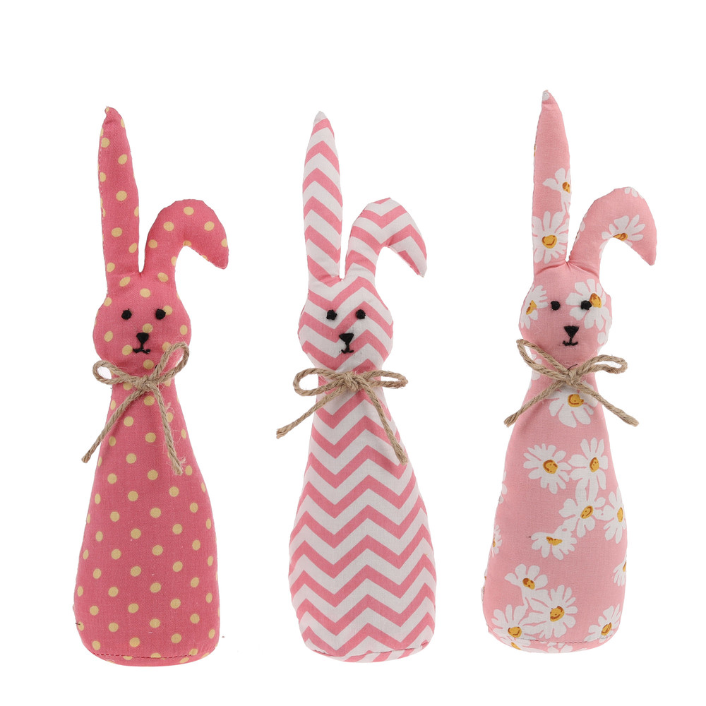 cute pink fabric floral print handmade rabbit decor assortment Children favor pet