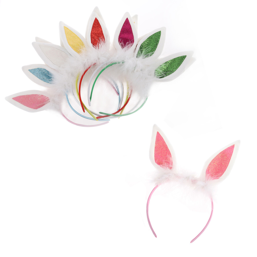 Wholesale Sequined rabbit ear Hair Accessories Children's Easter party hairpin Girls' headbands