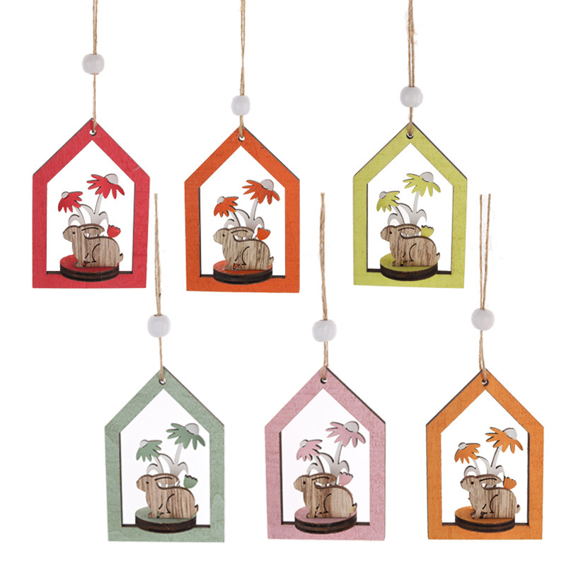 Wooden Hanging Easter Rabbit and tree in house Decoration Easter house pendant