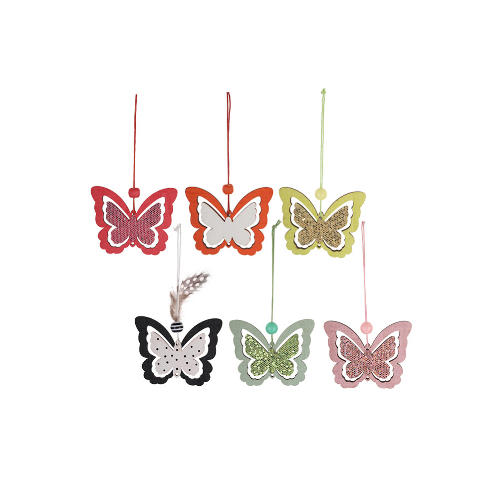 Wooden Easter Butterfly Hanging Pendant Party Ornament Easter Crafts Decoration Easter Butterfly Pendant