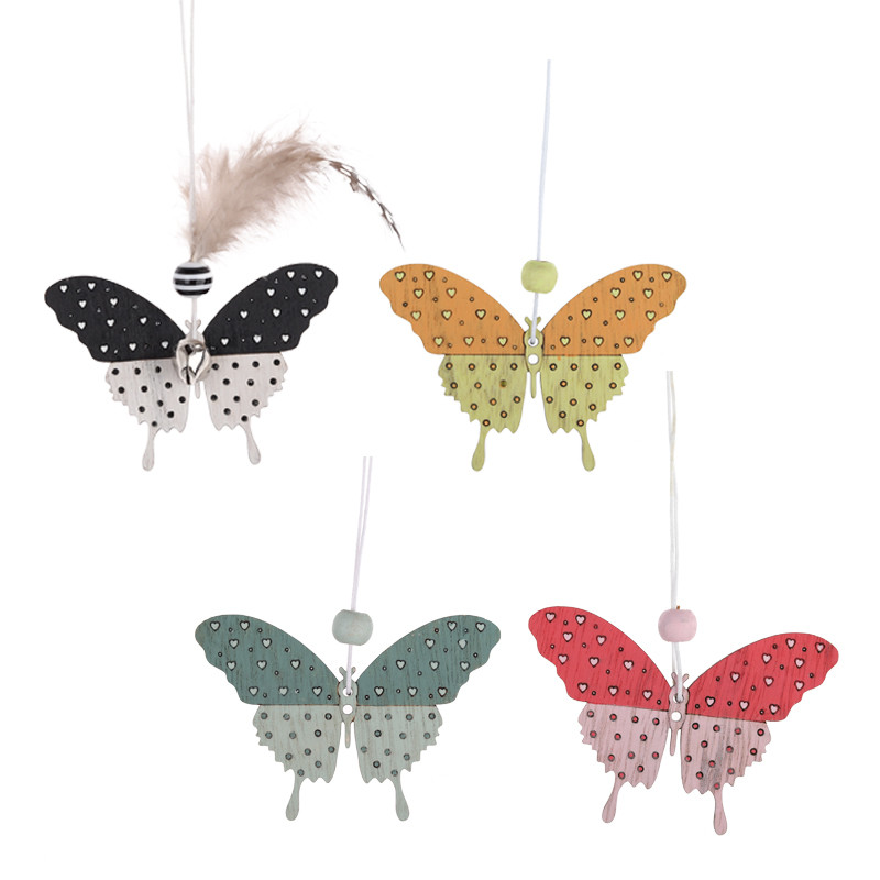 Easter Crafts Decoration with Bells and feathers Wooden Easter Butterfly Hanging Pendant Party Ornament