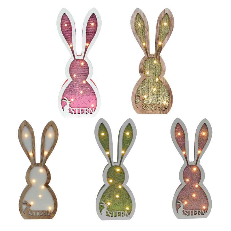 Wholesale wooden Easter led lights LED rabbit decoration led night lights with sequin ornament