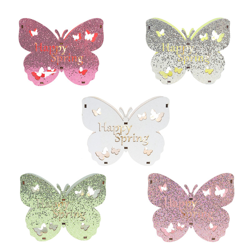 High quality Happy Spring Led Easter wooden decoration butterfly shape with applique sequin