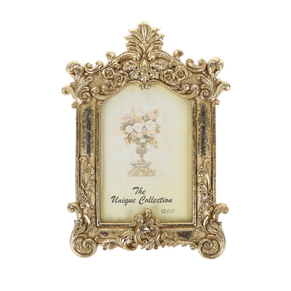 Wholesale Retro Wedding Decorations Art Decorative Photo Frame Gold Desk rahmen For Home Decor